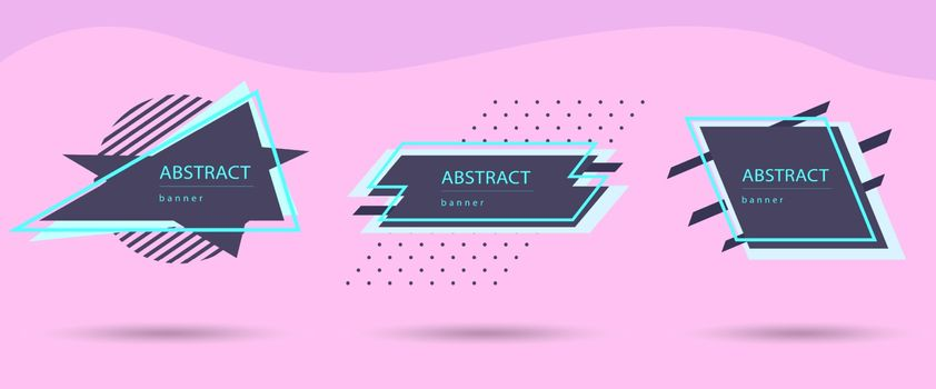 Abstract geometric web banners modern set in business colors