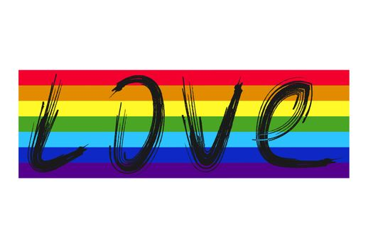 Love is love hand lettering written on a rainbow spectrum pride flag, isolated on white. LGBT rights concept. Modern poster, cards design.