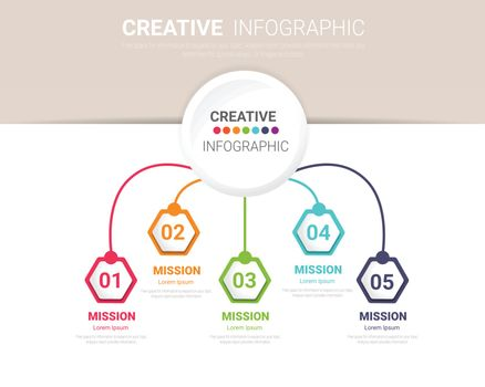 Presentation infographic template with 5 options.