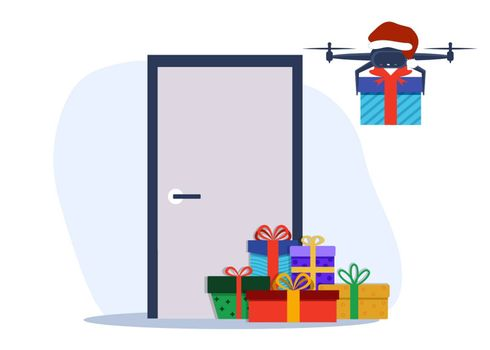 Air drone carrying New Year, Christmas or birthday gift box. Air drone with camera delivering a package new technologies of remote logistics. Flat style vector illustration.