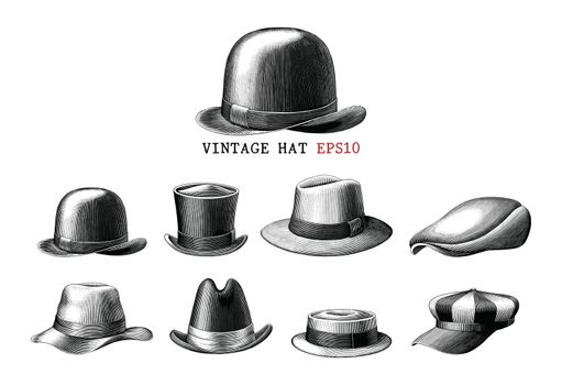 Vintage hat collection  hand draw engraving style black and white clipart isolated on white background