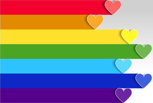 LGBT pride flag or rainbow pride flag on heart background.