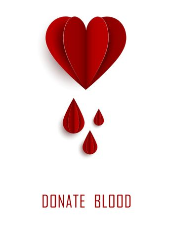 Blood drop paper day blood donation background. Medical donation concept. Vector illustration flat design. Donor day. Give life. Donate drop blood sign in flat design.
