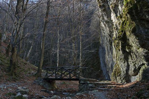 Autumn walk through the maze of Teteven Balkan with high peaks, river, bridge and mossy steep cliff, Stara Planina, Bulgaria