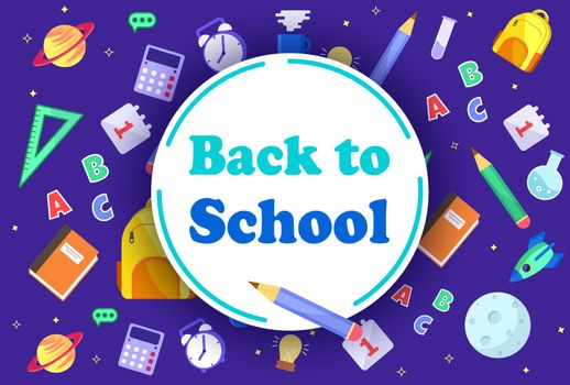 Colorful back to school templates for invitation, poster, banner, promotion,sale etc. School supplies cartoon illustration. Vector back to school design templates.
