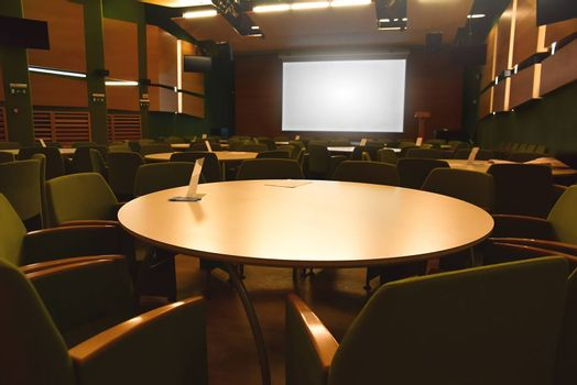 Interior of a modern company meeting room, nobody before the meeting begins. business