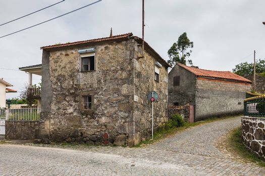 Vila Cha near Esposende, Portugal - May 9, 2018: Architecture detail of typical house in a small village in northern Portugal on a spring day