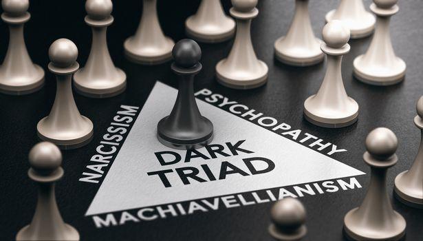 Dark triad, anti-social personality disorder. Psychology concept