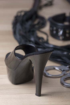 high heels and steel handcuffs