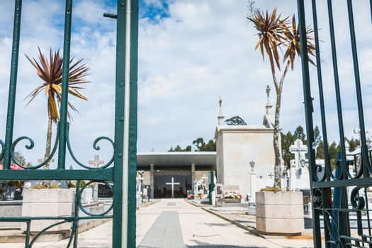 Vila Cha near Esposende, Portugal - May 9, 2018: architectural detail of the entrance to the village cemetery on a spring day