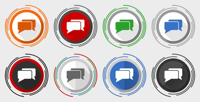 Message, bubble, dialog modern design flat graphic in 8 options for web design and mobile applications