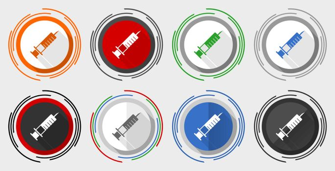 Syringe, injection modern design flat graphic in 8 options for web design and mobile applications