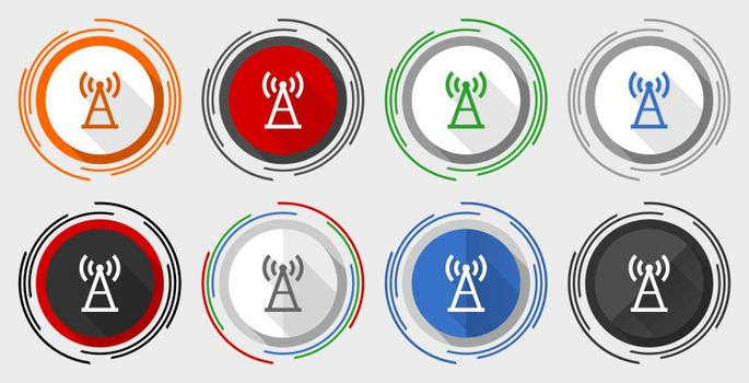 Antenna, signal modern design flat graphic in 8 options for web design and mobile applications