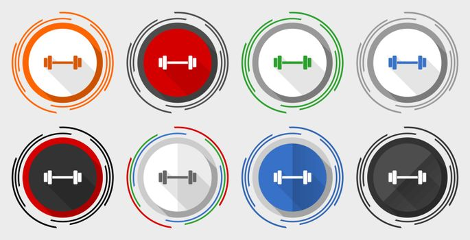 Fitness vector icon set, gym, sport modern design flat graphic in 8 options for web design and mobile applications