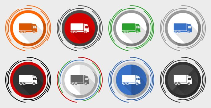 Delivery vector icon set, modern design flat graphic in 8 options for web design and mobile applications