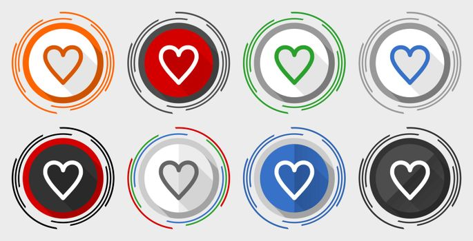 Heart vector icon set, modern design flat graphic in 8 options for web design and mobile applications