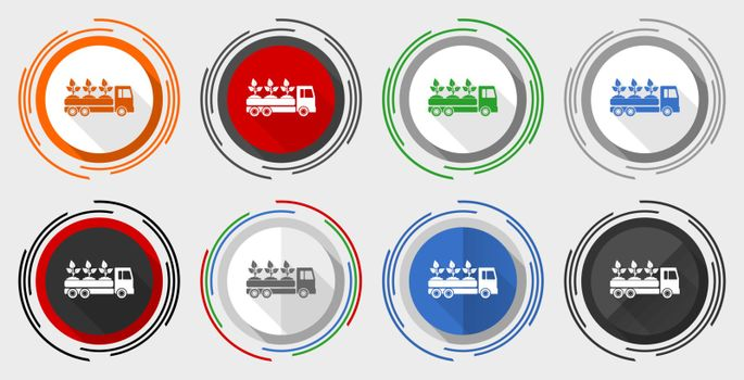 Truck vector icon set, plants and trees delivery modern design flat graphic in 8 options for web design and mobile applications