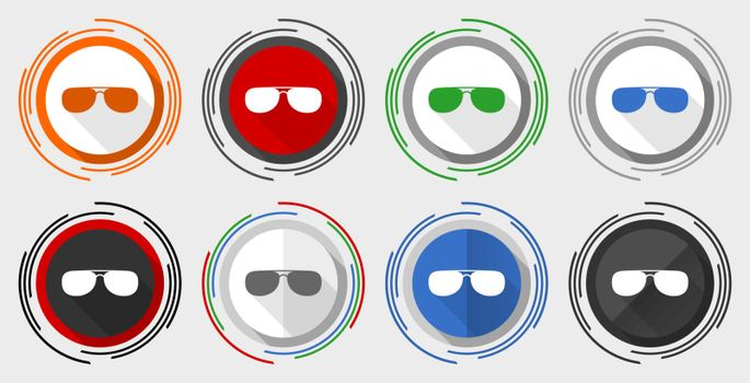 Sun glasses, sunglasses vector icon set, modern design flat graphic in 8 options for web design and mobile applications