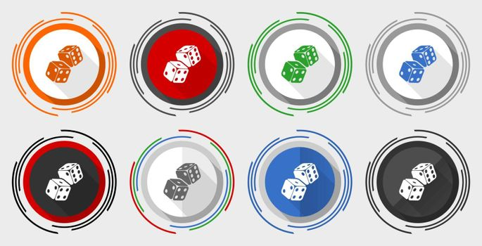 Dice, casino vector icon set, modern design flat graphic in 8 options for web design and mobile applications