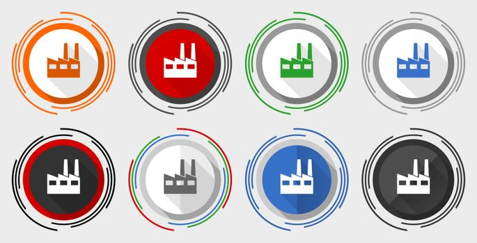 Factory vector icon set, industrial building modern design flat graphic in 8 options for web design and mobile applications