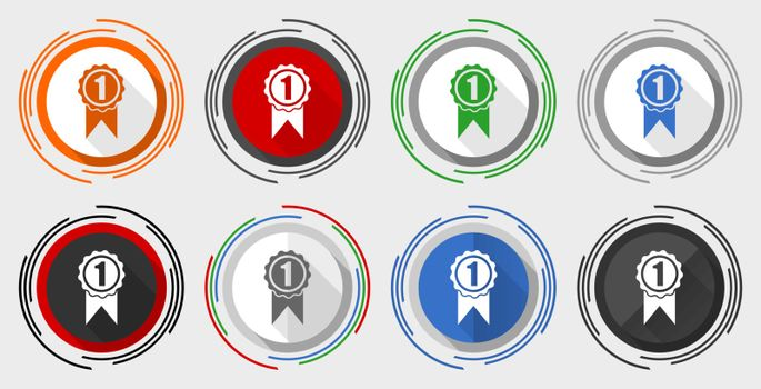 Victory vector icon set, first, winner modern design flat graphic in 8 options for web design and mobile applications