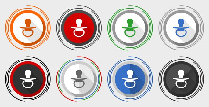 Pacifier, nipple vector icon set, modern design flat graphic in 8 options for web design and mobile applications