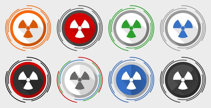 Radiation vector icon set, modern design flat graphic in 8 options for web design and mobile applications