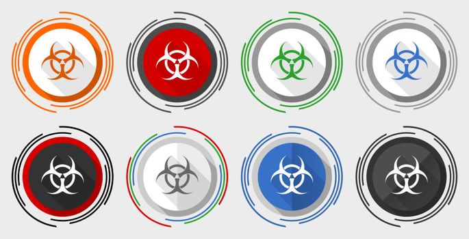 Biohazard vector icon set, modern design flat graphic in 8 options for web design and mobile applications