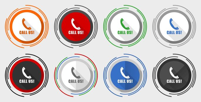 Call us vector icon set, modern design flat graphic in 8 options for web design and mobile applications