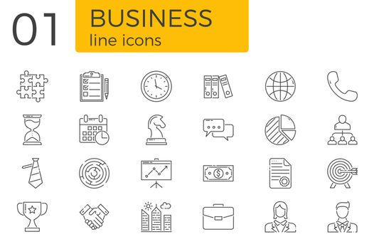 Business Related Vector Line Icons Set. Isolated on White Background. Editable Stroke.