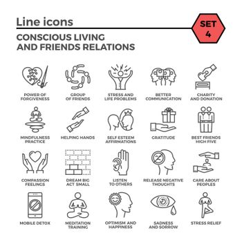 Conscious Living and Friends Relations Thin Line Related Icons Set on White Background. Simple Mono Linear Pictogram Pack Stroke Vector Logo Concept for Web Graphics.