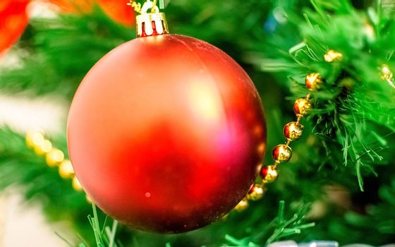 Christmas red ball on a branch with beautiful blur. Intentionally shallow dept of field