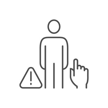 Don't touch people related vector thin line icon. Man hand and exclamation mark in a triangle. Isolated on white background. Editable stroke. Vector illustration.