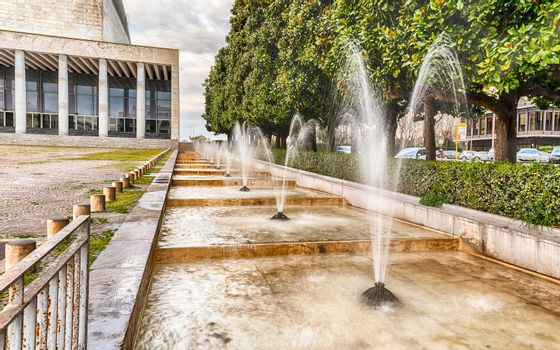 Scenic fountain, neoclassical architecture in the EUR district,