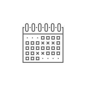 Events Calendar Related Vector Thin Line Icon. Isolated on White Background. Editable Stroke. Vector Illustration.