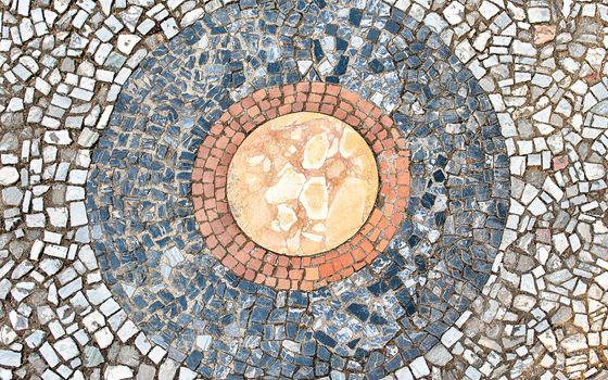 Mosaic on the pavement inside the scenic Villa d'Este, Tivoli, Italy