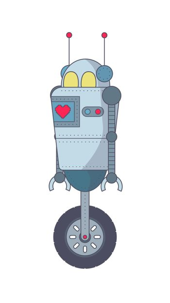 Robot Cartoon style. Doodle. Isolated on a white background. Vector illustration.
