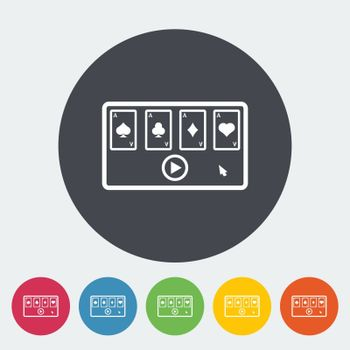 Video game. Single flat icon on the circle button. Vector illustration.