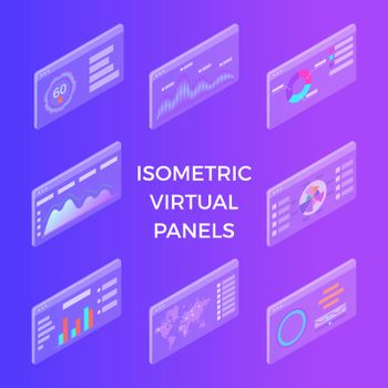 Isometric Virtual Panels. Data visualization concept. 3d vector isometric illustration. Can be used for web banner, infographics, hero images