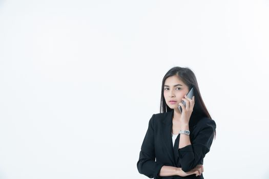 Asian Business women are using mobile and touch smart phone for Communication on white blackground