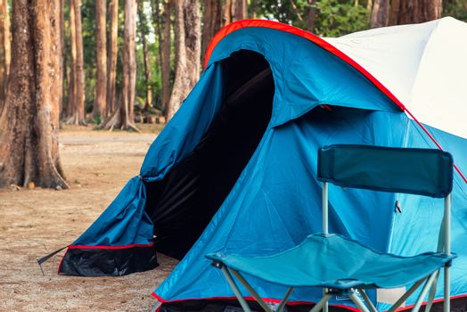 Campsite and Tent for Campfire in Holiday at National Park, Camping Site for Outdoors Leisure Activity Relaxation. Adventure and Vacation Lifestyles Concept