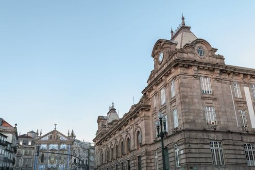 Porto, Portugal - November 30, 2018: Architecture detail of the exterior of the Porto train station on an autumn day
