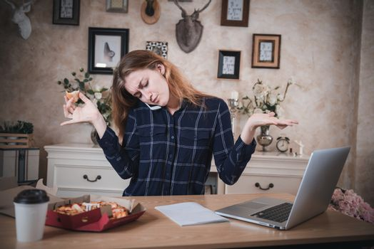 Busy Businesswoman Working at Home While Using Mobile Phone at The Same Time She Eating, Business Woman Entrepreneur Work From Home With Serious Communicating and Busy Tasking. Multitasking Lifestyles