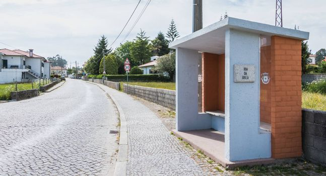 Vila Cha near Esposende, Portugal - May 9, 2018: View of a bus stop in the city center on a spring day