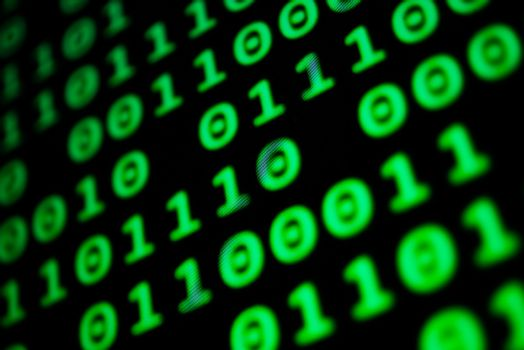 Numerical continuous code in green color, abstract web data in