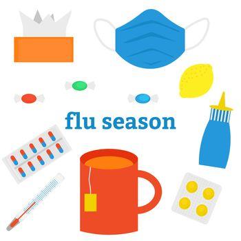 Seasonal cold or flu. Set of flat images