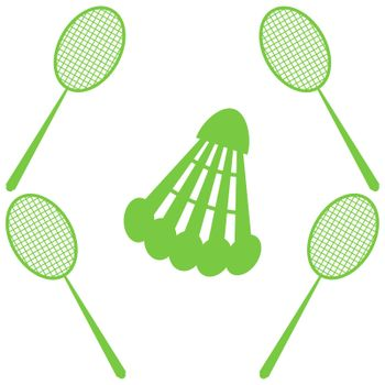 Badminton - shuttlecock and racket. Summer sport and relaxation. Vector illustration. Seamless pattern