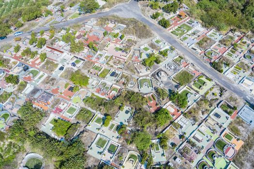 Aerial  view of  graveyard on the mountain. Taiwan.
