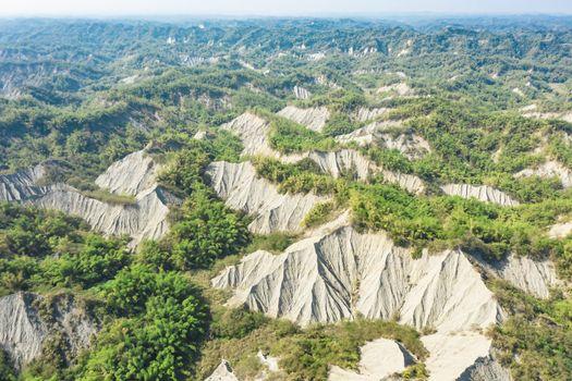 Aerial view of Tianliao Moon World. volcano mud and limestone area. Kaohsiung. Taiwan.mestone ar