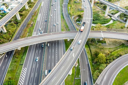 Aerial view of Highway transportation system highway interchange at kaohsiung. Taiwan.